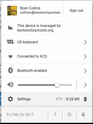 Chromebook - menu